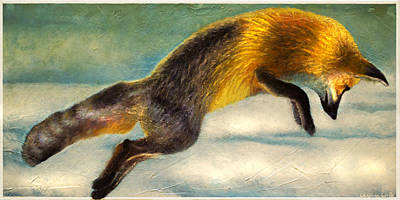 Animals Paintings - The Fox Hop by Kevin Chasing Wolf Hutchins