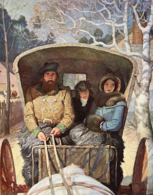 Carriage Driving Painting - The Fraser Family Dressed Up Warm In The Horsedrawn Carriage by Newell Convers Wyeth