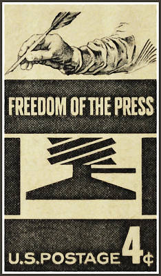 The Freedom Of The Press Stamp Original by Lanjee Chee