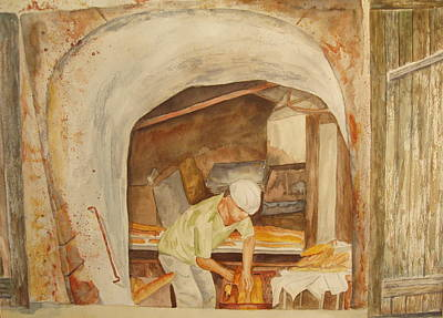 Boule Painting - The French Baker by Vicki  Housel