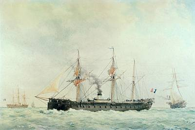 Rigging Painting - The French Battleship by Francois Geoffroy Roux