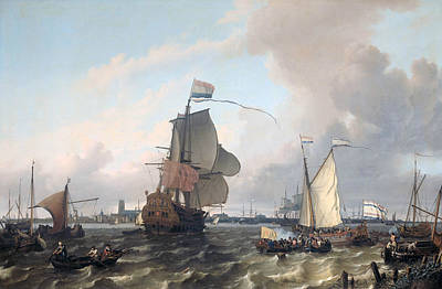 Painting - The Frigat Brielle On The Maas Off Rotterdam by Ludolf Bakhuizen