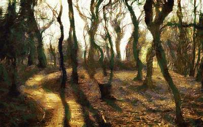 Bare Trees Digital Art - The Frightening Forest by Gun Legler