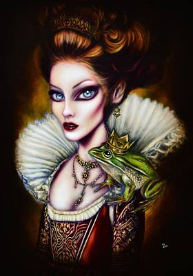 Best Sellers - Surrealism Royalty-Free and Rights-Managed Images - Frog Princess Painting by Tiago Azevedo Pop Surrealism Art by Tiago Azevedo