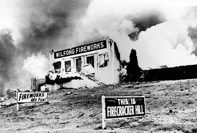 Irony Photograph - The Front Wall Of The Wilfong Fireworks by Everett