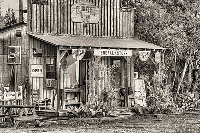 The Frontier Outpost General Store Black And White Art Print by JC Findley