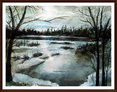 Reflections Of Trees In River Painting - The Frozen by Kalyan Bandyopadhyay