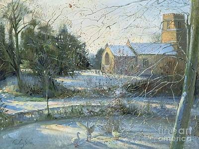 Swans... Painting - The Frozen Moat - Bedfield by Timothy Easton