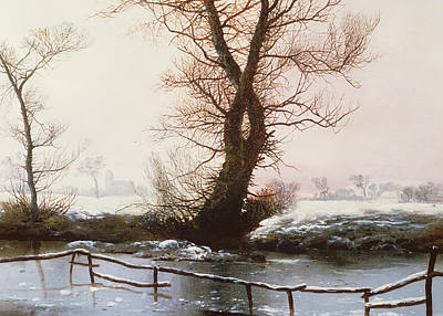 Snowy Stream Painting - The Frozen Pool by John Bernet Ladbrooke