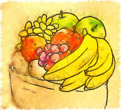Pen Digital Art - The Fruit Pot - Da by Leonardo Digenio