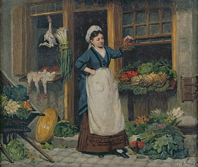 Cobblestone Painting - The Fruit Seller by Victor Gabriel Gilbert