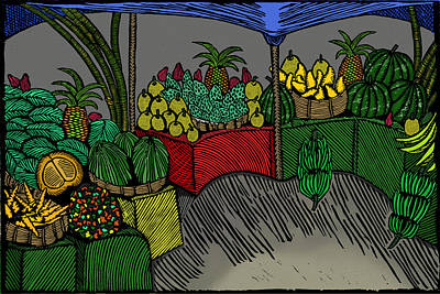 Printmaking Mixed Media - The Fruit Stand by Marlon Vassell
