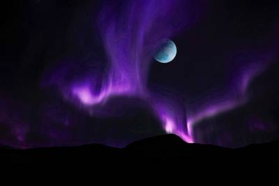 Painting - The Full Pink Moon Over Purple Northern Lights by Celestial Images