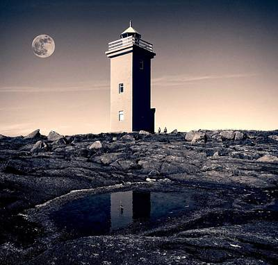 Painting - The Full Worm Moon  Over Keflavik, Iceland by Celestial Images