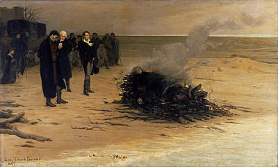 Fournier Painting - The Funeral Of Shelley by Louis Edouard Fournier