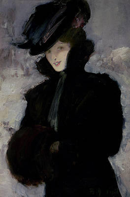 Winter Scene Painting - The Fur Coat by Bessie MacNicol