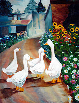 The Gaggle Art Print by Renate Nadi Wesley