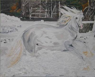 Snow Piles Painting - The Gallop by Denise Morgan