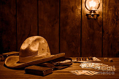 Photograph - The Gambler Hat - Sepia by Olivier Le Queinec