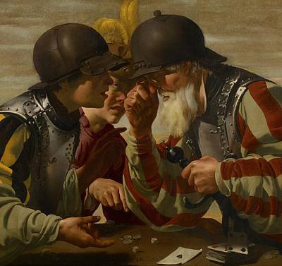 Painting - The Gamblers by Hendrick Ter Brugghen