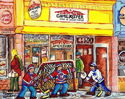 Painting - The Gamekeeper Verdun Montreal Art Shops And Store Front Painting Hockey Goalie Scene Carole Spandau by Carole Spandau