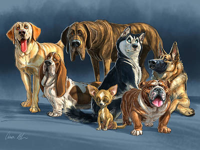 Basset Digital Art - The Gang 2 by Aaron Blaise