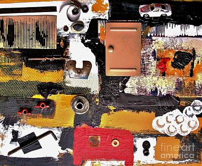 Tape Mixed Media - The Garage Collage by Marsha Heiken