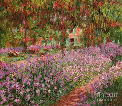 Flowerbed Painting - The Garden At Giverny by Claude Monet