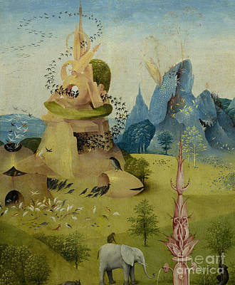 Genesis Painting - The Garden Of Earthly Delights, Detail Of Left Panel Showing Paradise by Hieronymus Bosch