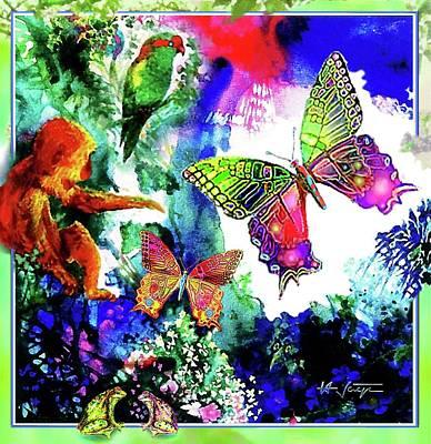 Parakeet Mixed Media - The Garden Of Eden by Hartmut Jager
