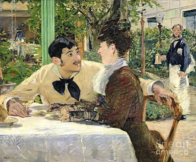 Outdoor Cafe Painting - The Garden Of Pere Lathuille by Edouard Manet