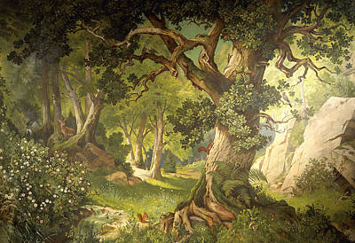 Squirrel Painting - The Garden Of The Magician Klingsor, From The Parzival Cycle, Great Music Room by Christian Jank
