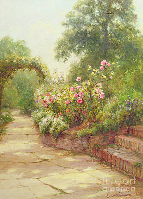 Planting Flowers Painting - The Garden Steps   by Ernest Walbourn