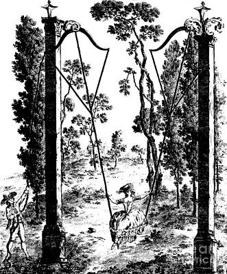 Drawing - The Garden Swing At Rambouillet by French School