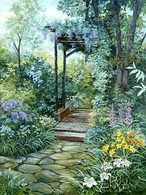 The Garden Triptych Right Side Original by Lois Mountz