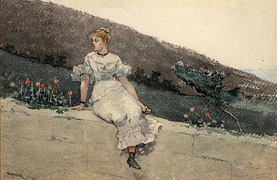 Winslow Homer Drawing - The Garden Wall by Winslow Homer