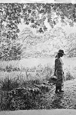 Drawing - The Gardener. by SJV Jeffery-Swailes