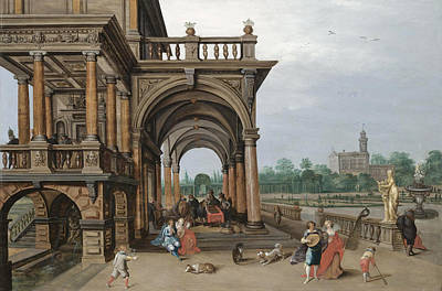 The Gardens Of A Palace With Elegant Figures Strolling Making Music And Playing Backgammon In A Logi Art Print