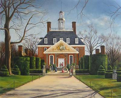 Colonial Williamsburg Painting - The Gardens Of The Governor's Palace by Gulay Berryman