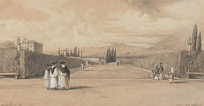 Drawing - The Gardens Of The Villa Albani by Edward Lear