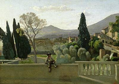 The Gardens Of The Villa Deste Art Print by Jean Baptiste Camill  Corot