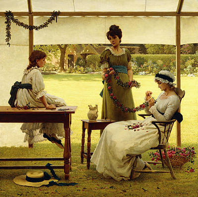 Sisters Painting - The Garland by George Dunlop Leslie