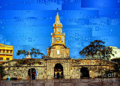 Digital Art - The Gate And Clock Tower In Cartagena Colombia by Rafael Salazar