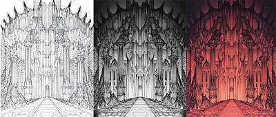 Colored Pencil Mixed Media - The Gates Of Barad Dur Progression by Curtiss Shaffer
