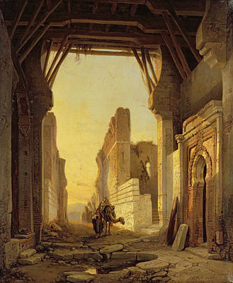Camels Painting - The Gates Of El Geber In Morocco by Francois Antoine Bossuet