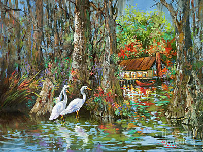 Painting - The Gathering - Louisiana Swamp Life by Dianne Parks