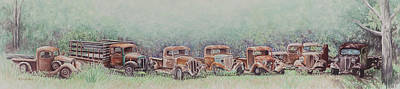International Harvester Truck Painting - The Gathering In Summertime by Martha Shilliday