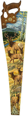 Saw Blades Painting - The Gathering - Elk by Susan Zabel
