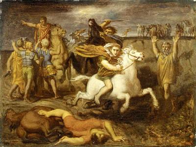 Gaul Painting - The Gaul Littavicus  Betraying The Roman Cause Flees To Gergovie To Support Vercingetorix by Theodore Chasseriau