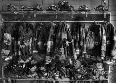 Red Photograph - The Gear Of Heroes - Firemen - Fire Station by Lee Dos Santos